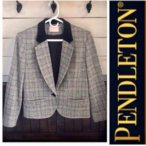 Vintage Classic PENDLETON Blazer With Velvet Trim